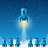 Astronautyczny lider rakiety wodowanie, Kreatywnie pomysł, Wektorowa ilustracja ilustracja wektor