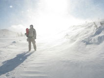 Astronautyczny mężczyzna Snowboarder Fotografia Stock