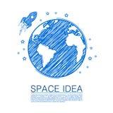 Astronautyczny pomysł rysuje na papierze Obraz Royalty Free