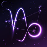 Astronautyczny symbol Capricorn pojęcie, wektorowa sztuka i ilustracja zodiaka i horoskopu, Zdjęcie Stock