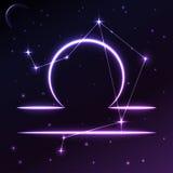 Astronautyczny symbol Libra pojęcie, wektorowa sztuka i ilustracja zodiaka i horoskopu, Zdjęcie Stock