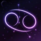 Astronautyczny symbol nowotwór pojęcie, wektorowa sztuka i ilustracja zodiaka i horoskopu, Fotografia Royalty Free