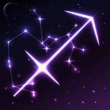 Astronautyczny symbol Sagittarius pojęcie, wektorowa sztuka i ilustracja zodiaka i horoskopu, Zdjęcie Royalty Free