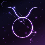 Astronautyczny symbol Taurus pojęcie, wektorowa sztuka i ilustracja zodiaka i horoskopu, Obrazy Royalty Free