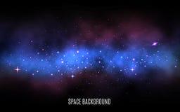 Astronautyczny tło Milky sposób z kolorowymi gwiazdami Błękitny mgławicy i stardust galaktyki tło z jaśnieniem gra główna rolę mo royalty ilustracja