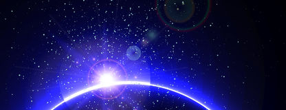 Astronautyczny tło z błękita światłem od behind ilustracja wektor