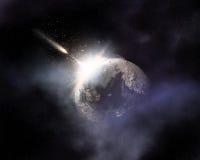 Astronautyczny tło z komety lataniem w kierunku powieściowej planety ilustracji