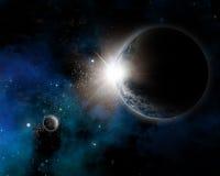 Astronautyczny tło z mgławicy i planety ziemią Zdjęcie Royalty Free