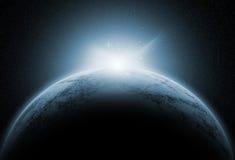 Astronautyczny tło z powieściowymi planetami royalty ilustracja
