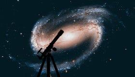 Astronautyczny tło z sylwetką teleskop spirala galaktyki Fotografia Stock