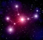 astronautyczny tło z gwiazdami i Virgo gwiazdozbiorem ilustracja wektor