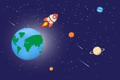 Astronautyczny tło z planetami Obraz Royalty Free
