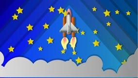 Astronautyczny wahadłowiec Ilustracja w postaci kolażu ilustracja wektor