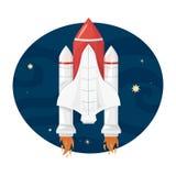 Astronautyczny wahadłowiec bierze daleko, wektorowa ilustracja royalty ilustracja