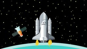 Astronautyczny wahadłowiec Opuszcza ziemię w kosmos royalty ilustracja