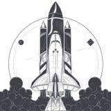 Astronautyczny wahadłowiec z przewoźnik rakiet wodowanie wektorem Fotografia Royalty Free