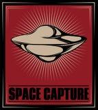 Astronautyczny zdobycz Wektorowa ręka rysująca ilustracja latający spodeczek T royalty ilustracja