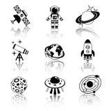 Astronautycznych ikon czarny i biały set Zdjęcie Royalty Free