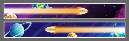 Astronautycznych sztandarów wektorowy projekt royalty ilustracja
