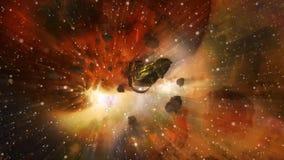 Astronave che sfugge dalla collisione dei mondi archivi video