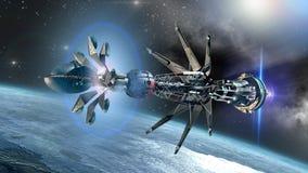Astronave con il filo di ordito Drivein lo stato d'inizio Immagine Stock Libera da Diritti