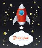 Astronave e testo comici del razzo del fumetto illustrazione vettoriale