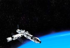 Astronave interstellare che vola vicino al pianeta blu nello spazio cosmico royalty illustrazione gratis
