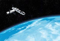 Astronave interstellare che vola vicino al pianeta blu nello spazio cosmico illustrazione di stock