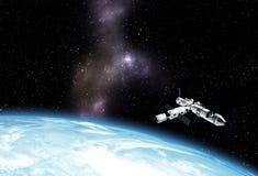 Astronave interstellare che vola vicino al pianeta blu nello spazio cosmico illustrazione vettoriale