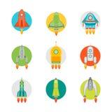 Astronave o Rocket Color Icons Set del fumetto Vettore Fotografia Stock Libera da Diritti