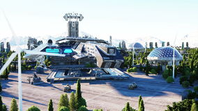 Spaceship in a futuristic city, town. The concept of the future. Aerial view. Super realistic 4k animation. Stock Footage