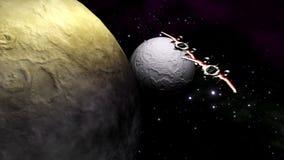 Astronavi futuristiche che volano sopra il pianeta e la luna illustrazione di stock