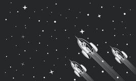 Astronavi volanti della galassia, razzi nello spazio Concetto dell'insegna di affari Retro illustrazione dell'annata background illustrazione di stock
