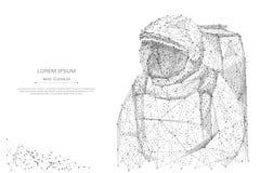 Astronavt niskie poli- szarość royalty ilustracja