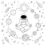 Astronoaut disegnato a mano che fa meditazione illustrazione vettoriale