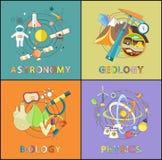 Astronomía, la física, geología, gráficos de la biología stock de ilustración