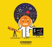 Astronom med refractorteleskopet Arkivbild