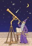 Astronom przy teleskopem Fotografia Stock