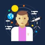 Astronomenweltraumforschungsfrauen-Vektorillustration Stockbilder