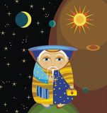 Astronomer. The old wizard with a magic chest Stock Image