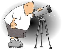 Astronomer. This illustration that I created depicts a man looking through a telescope Royalty Free Stock Images