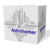 Astronomer Job Shows Star Gazer And Astronomers Royalty Free Stock Photography