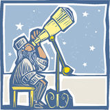 Astronomer at night Stock Photography