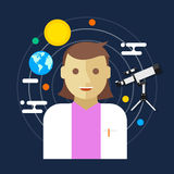 Astronomer space science women vector illustration Stock Images