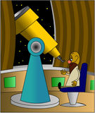 Astronomer with telescope royalty free illustration