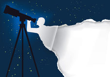 Astronomer with telescope background. Royalty Free Stock Photography