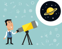 Astronomer with telescope print Royalty Free Stock Photo