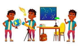 Astronomi astrofysikstudentVector Cartoon Characters uppsättning stock illustrationer