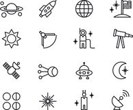 Astronomi-, astrologi- & utrymmesymboler Arkivbild