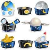 astronomi boxes samlingen royaltyfri illustrationer